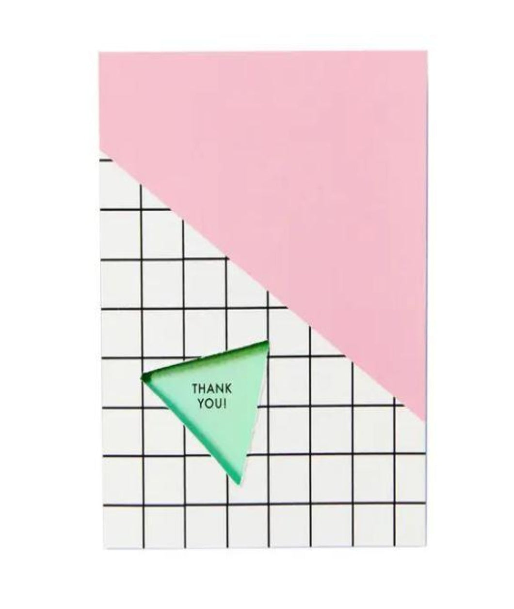 Pictured against a white background is a card that features a black and white grid pattern at the bottom and a light pink filler at the top. There is a mint colored triangle with the words