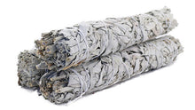 Load image into Gallery viewer, three large bundles of white sage, wrapped in white twine