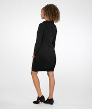 Load image into Gallery viewer, model in a black dress with a wide, asymmetrical collar and pockets