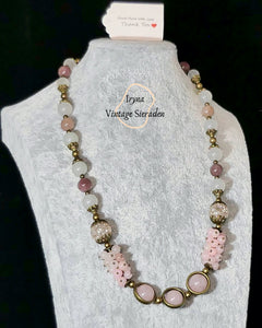 Necklace with Gemstones-Pink Quartz and Rhodochrosite