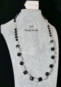 Necklace Black Onyx & White Crystal Swarovski