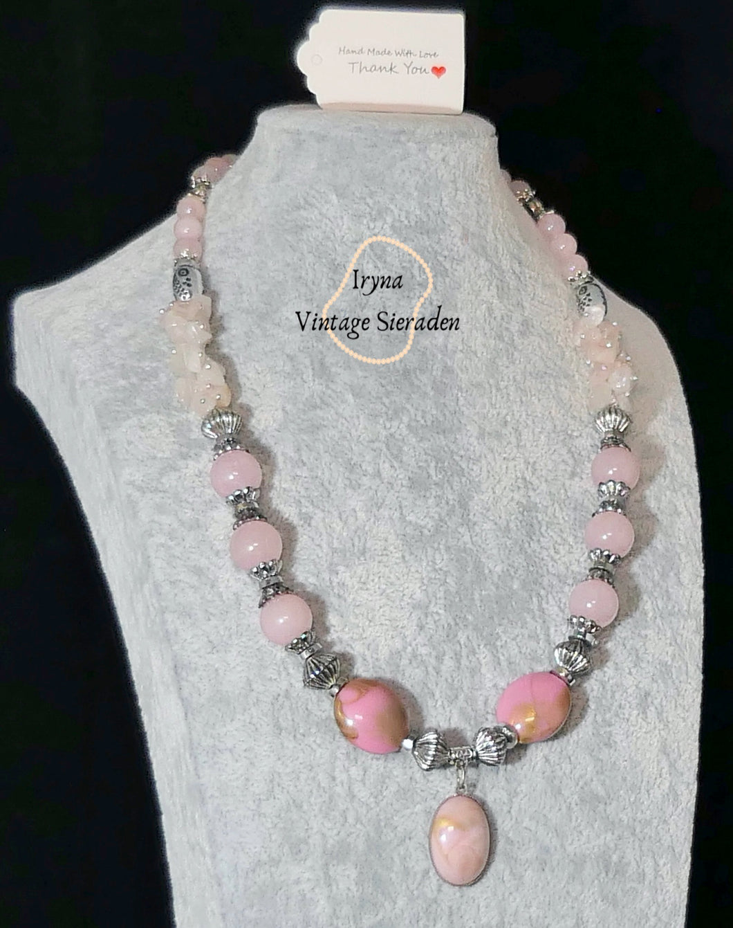 Necklace with Pendant with Gemstone-Pink Quartz