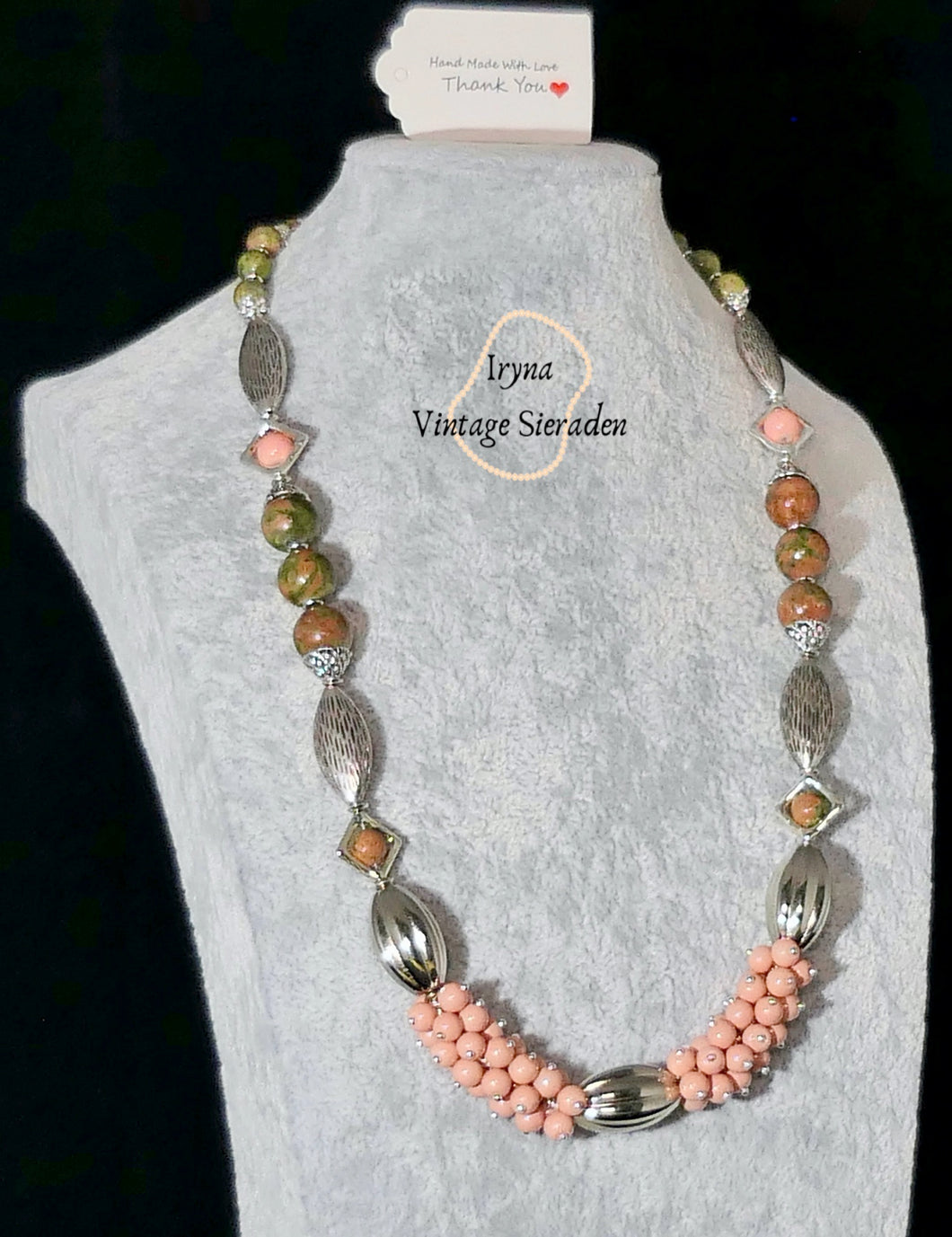 Necklace with Gemstones - Unakite and Agates