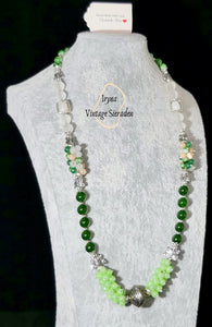 Necklace with Green Agate and Moon Rock