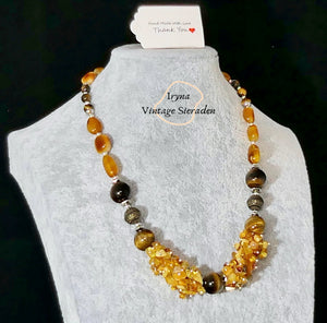 Necklace with Amber and Eye of the Tiger