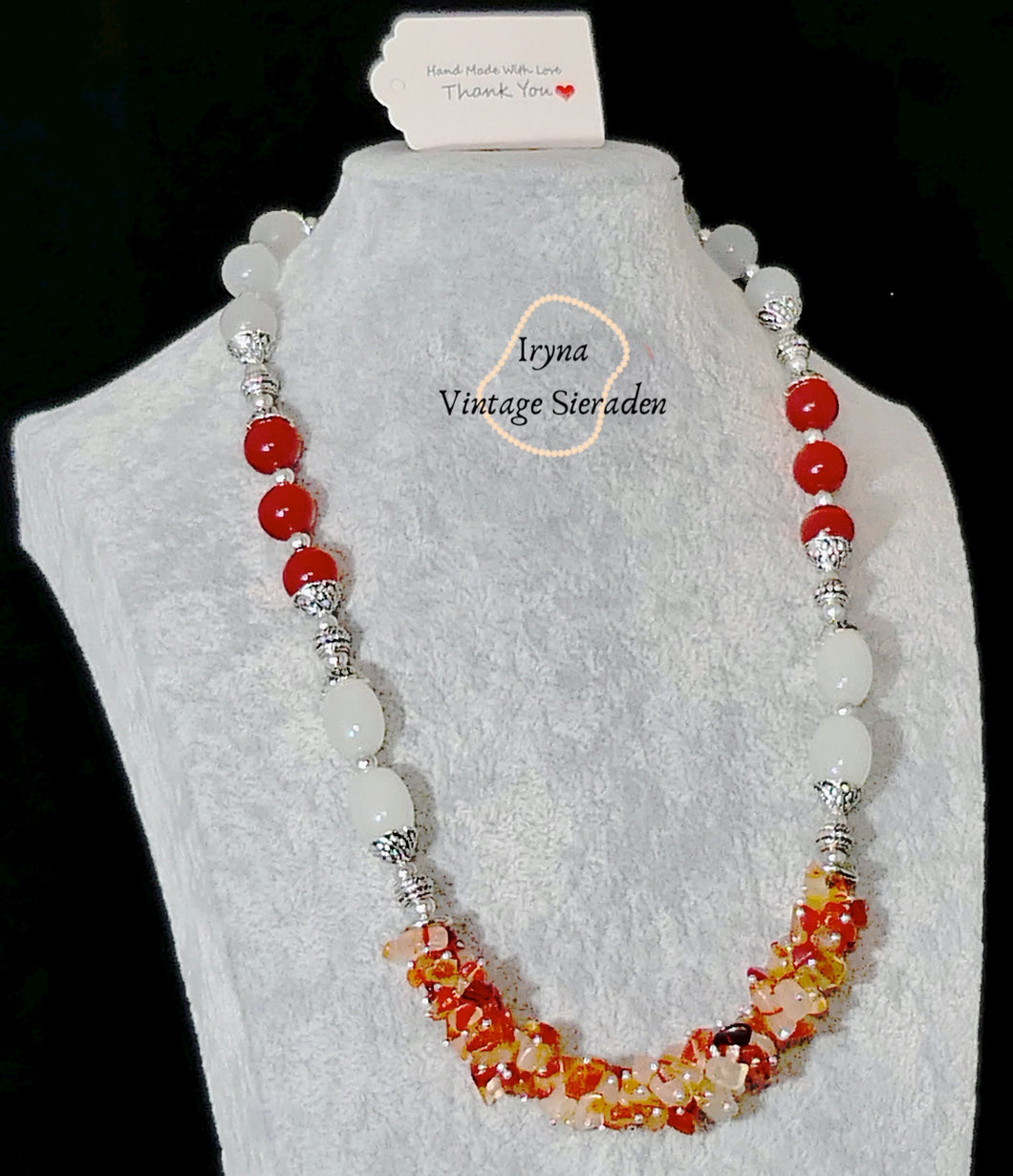 Necklace with Cornelian, Moonstone and Red Tiger Eye