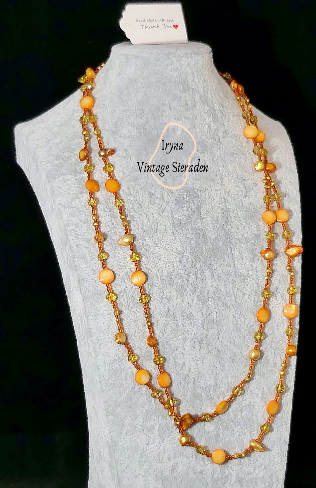 Necklace with Painted  River Pearls and Crystal Swarovski