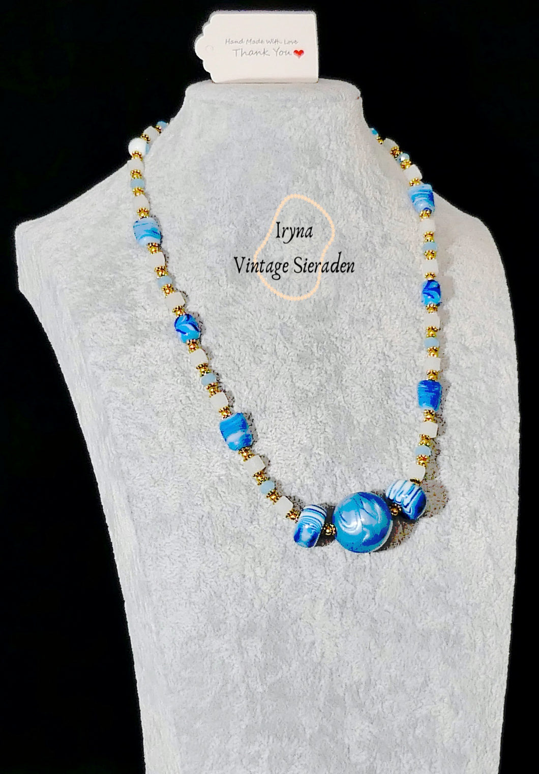 Necklace with Crystal and Lampwork Beads
