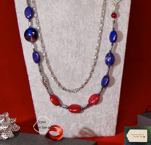 Grade B NC  Agates and Lapis Lazuli and Lampwork Beads