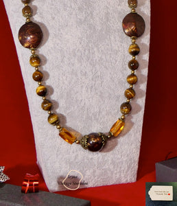 Grade C NC  Yellow Tiger Eye and Lampwork Beads