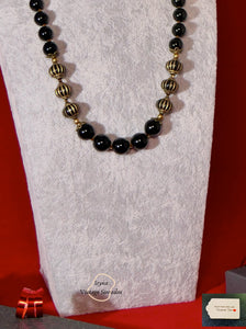 Grade C NC  Black Onyx and Lampwork Beads