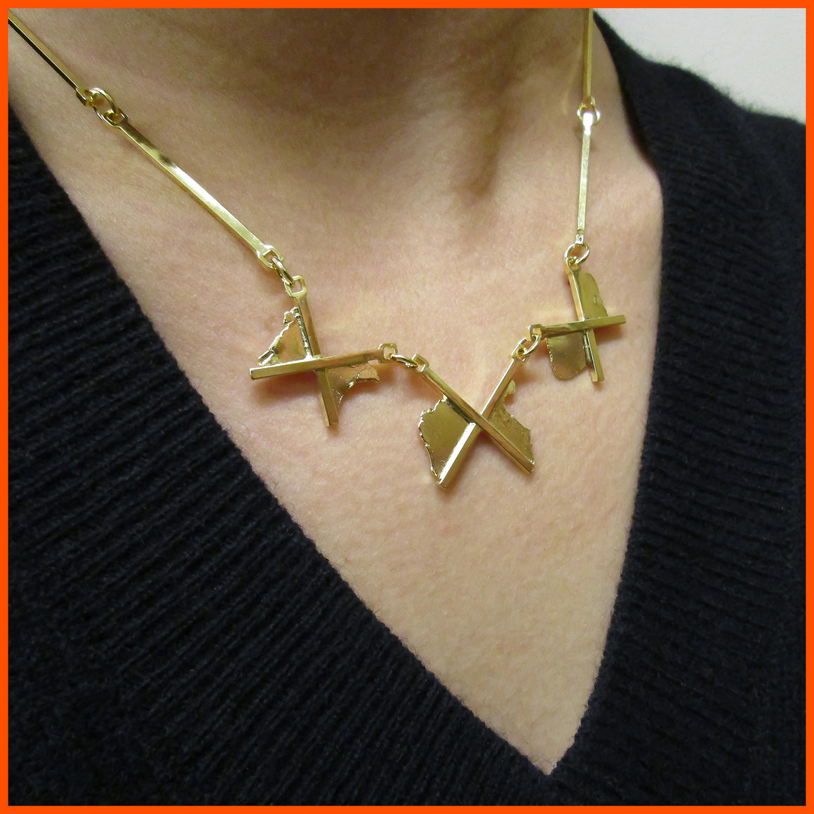 One of a kind, handmade gold necklace by Seth Papac.