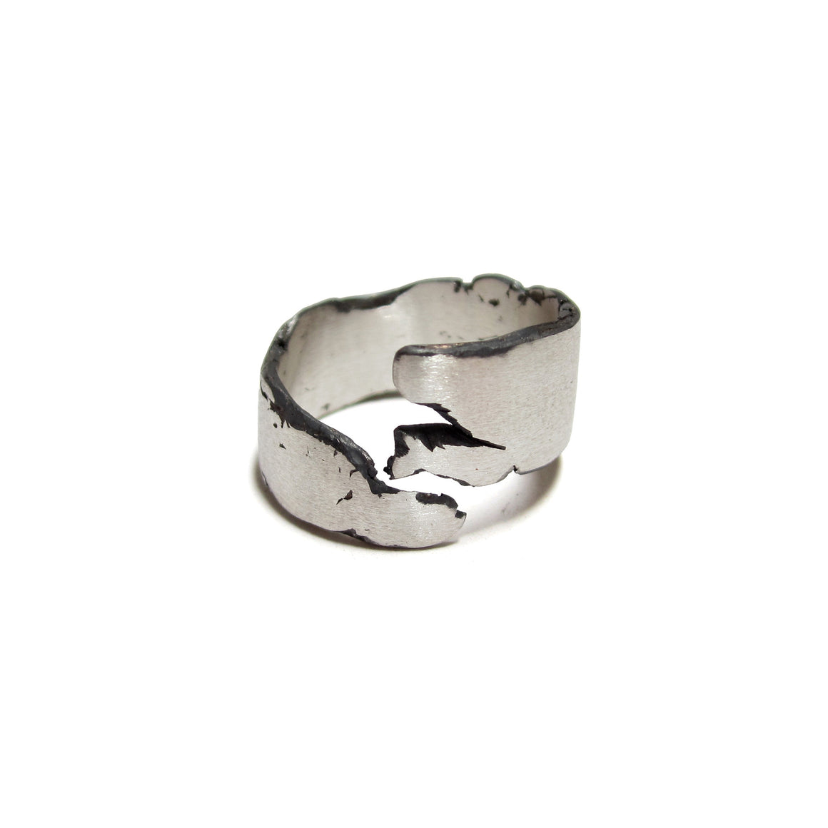 sterling silver cracked ring by Seth Papac