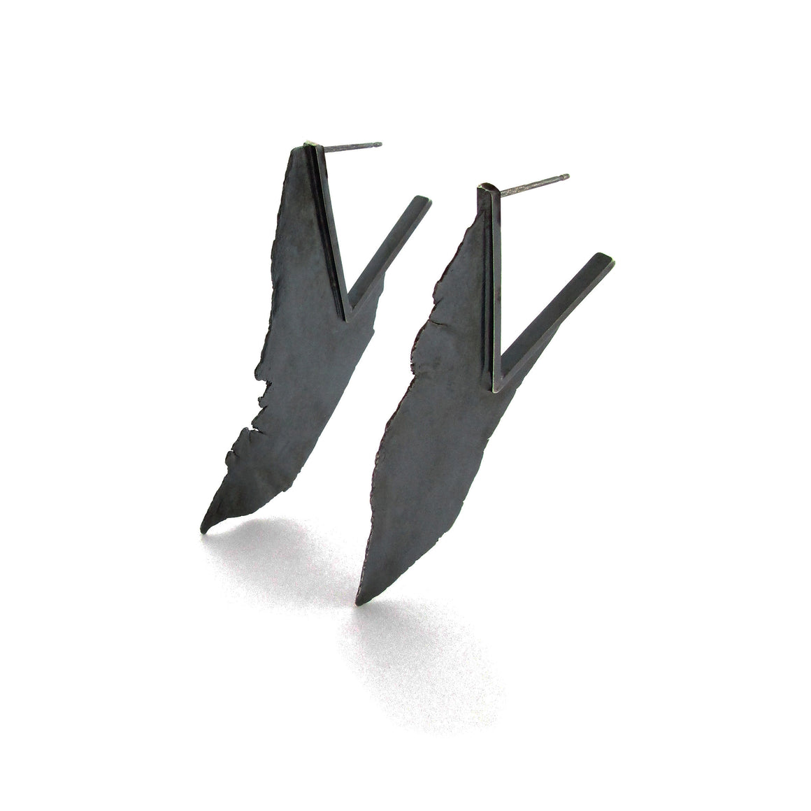 handmade silver earrings by Seth Papac