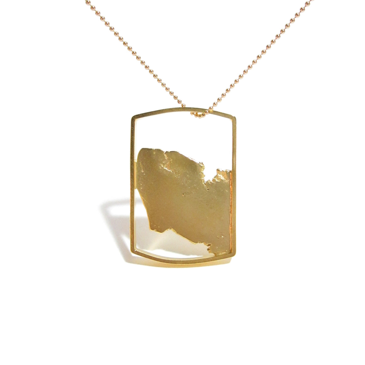 18K gold plated sterling silver tag by Seth Papac