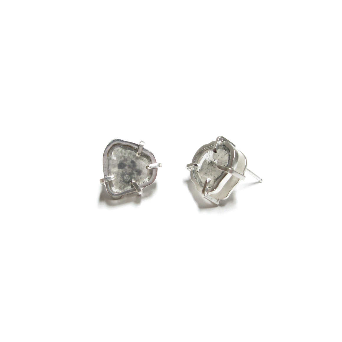 handmade, sterling silver, diamond slice, one of a kind earrings by Seth Papac