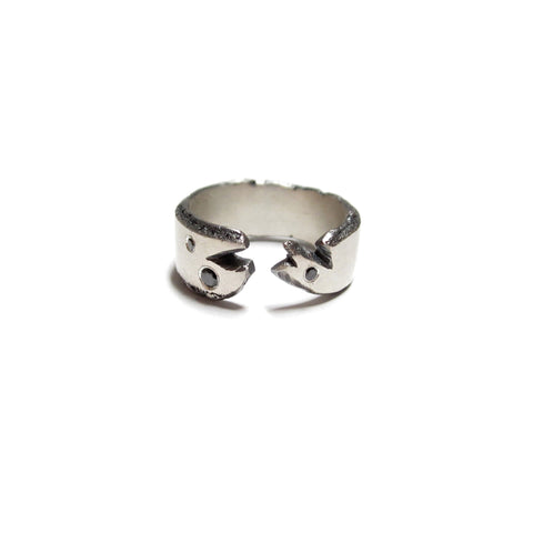 size 7 silver and black diamond unisex ring by Seth Papac