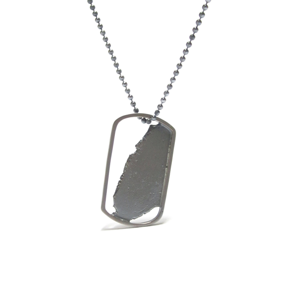 Seth Papac Torn In Tags - Small 18K Blackened sterling silver