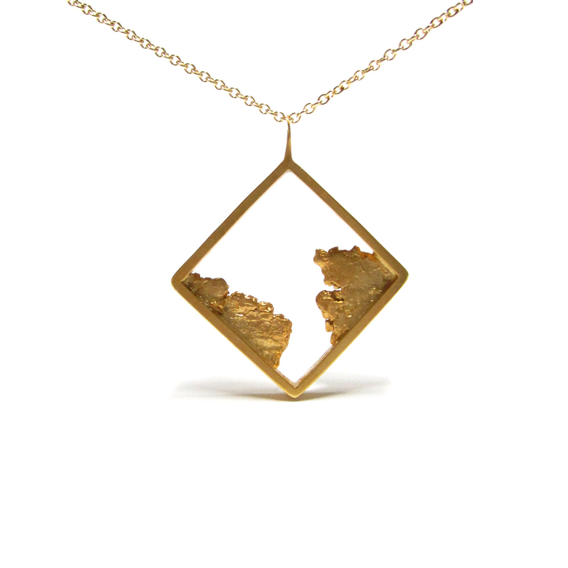 Seth Papac Torn Square Pendant - Gold plated sterling silver