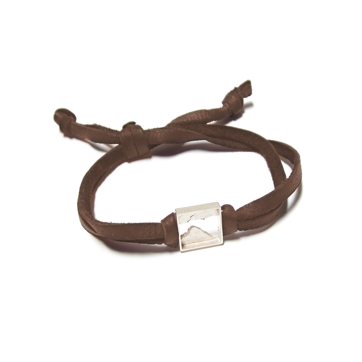 Seth Papac Torn Bracelet in sterling silver and brown leather