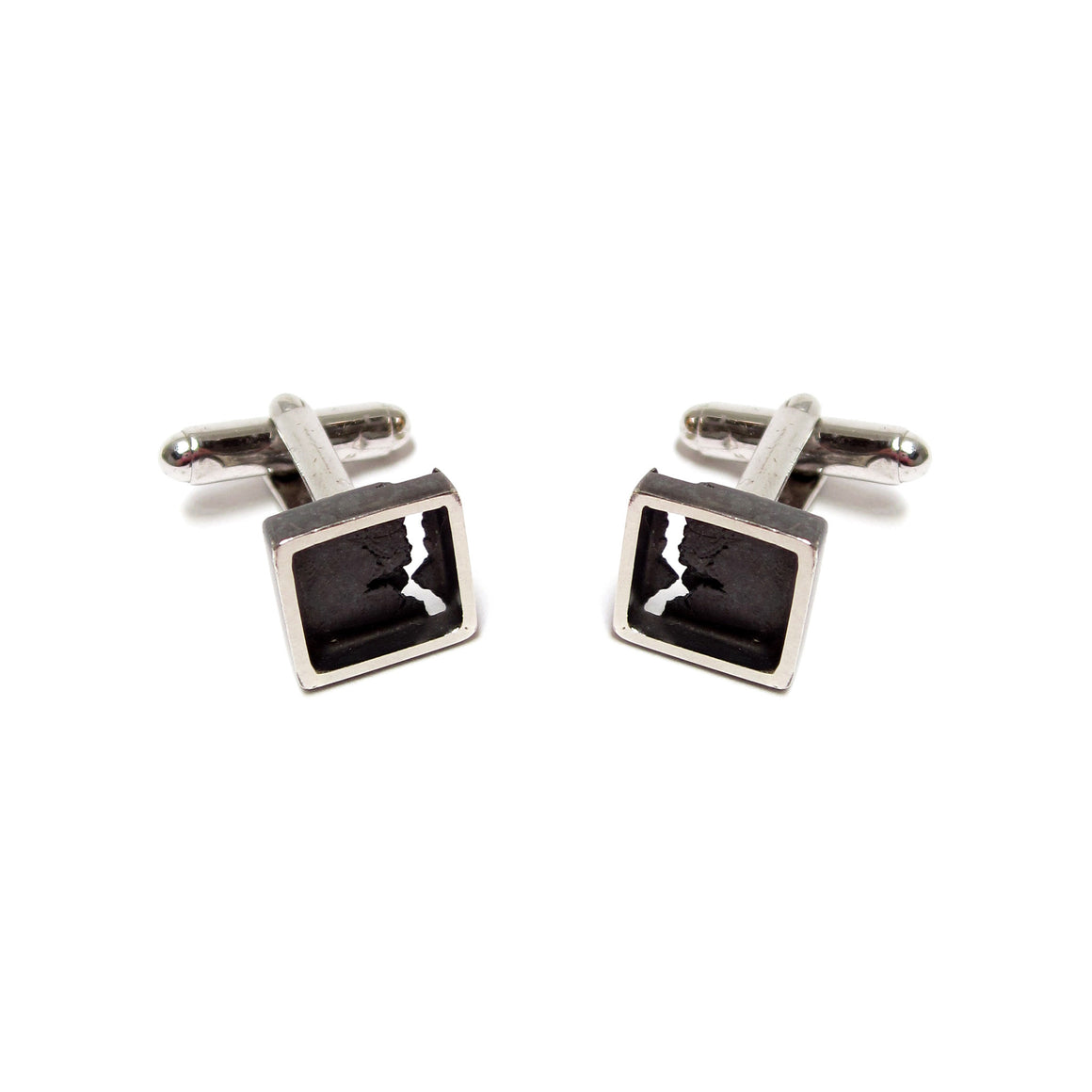 two tone sterling silver cufflinks by Seth Papac