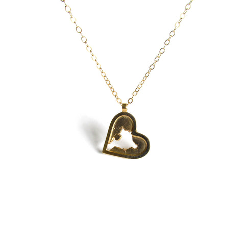 18K gold plated sterling silver heart pendant by Seth Papac