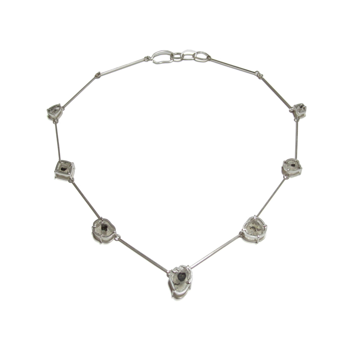 handmade, sterling silver, diamond slice, one of a kind necklace by Seth Papac