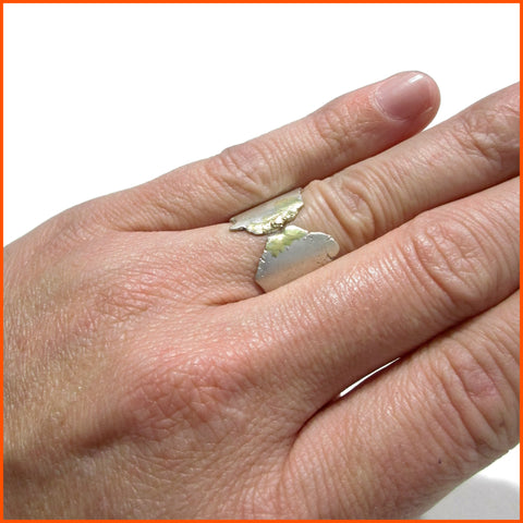 handmade sterling silver 18k gold unisex ring by Seth Papac