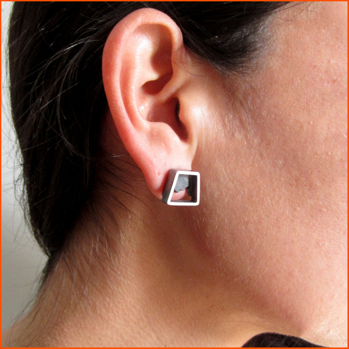 one of a kind silver stud earrings by Seth Papac