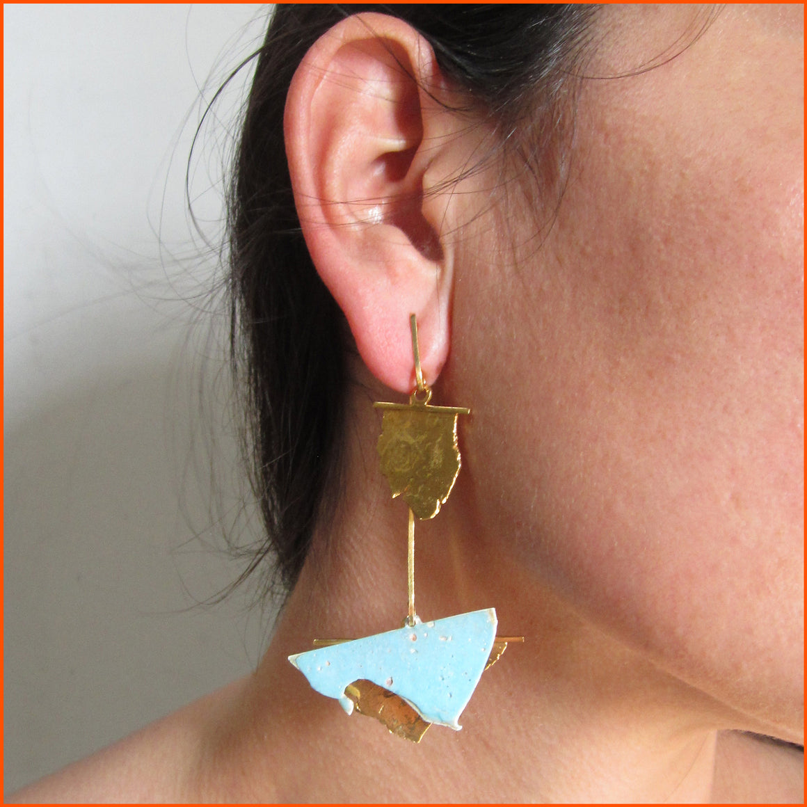 18K gold plated and enameled fine silver earrings by Seth Papac