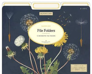 12 Dandelion File Folders - Cavallini - Lemon And Lavender Toronto