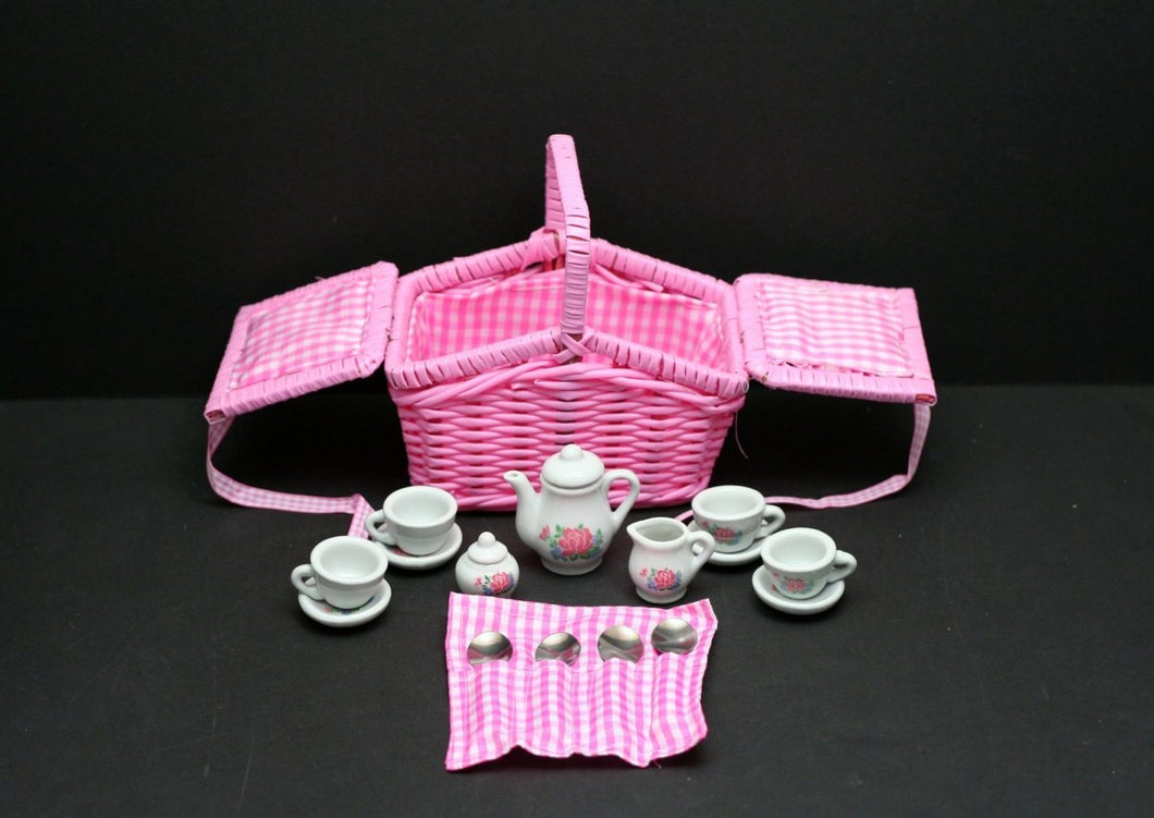 17 Pcs Porcelain Basket Mini Teaset – Pink Flower - Lemon And Lavender Toronto