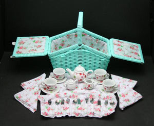 30 pcs Mini Teaset with Turquoise Picnic Basket - Lemon And Lavender Toronto