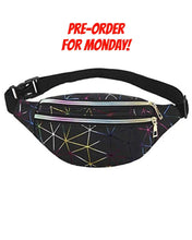 Load image into Gallery viewer, Black Multicolour Stripe Fanny Pack * PRE ORDER FOR MONDAY DELIVERY* - Lemon And Lavender Toronto