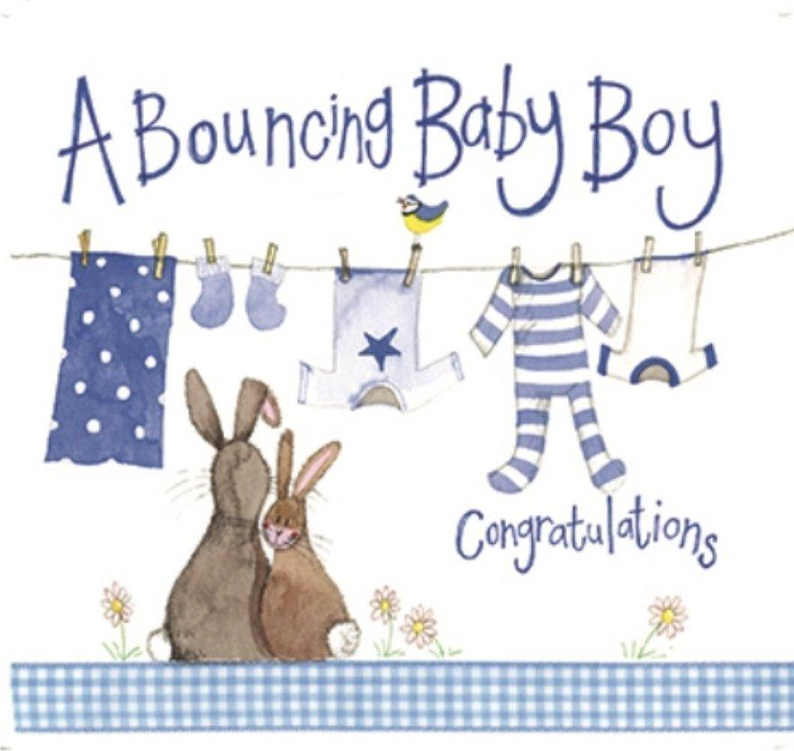 Blue Washing Line New Baby Boy Card - Lemon And Lavender Toronto