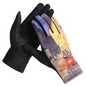 """Café Terrace at Night"" Touch Screen Gloves - Lemon And Lavender Toronto"