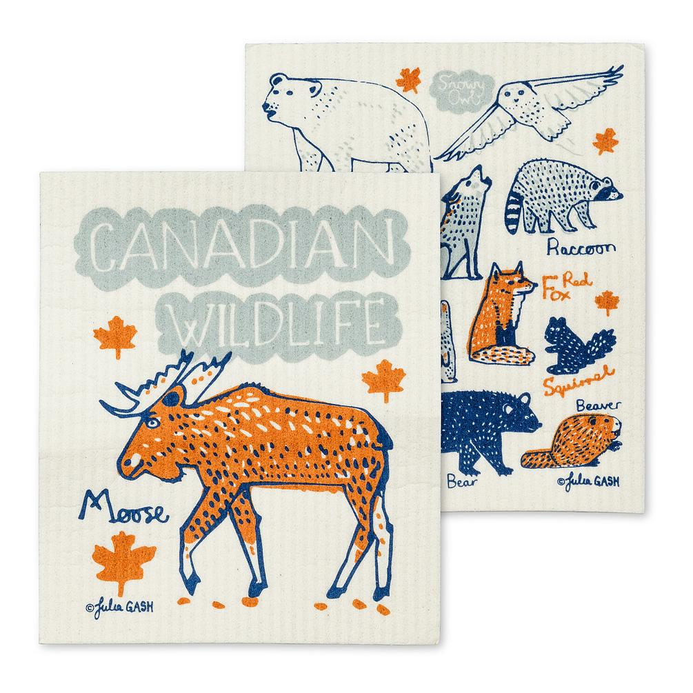 Canadian Wildlife Dish Cloths. Set of 2 - Lemon And Lavender Toronto