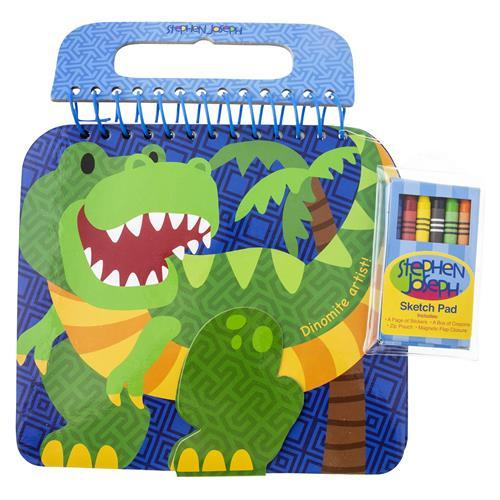 Dinosaur - Shaped Sketch Pad with Crayons + Stickers - Lemon And Lavender Toronto