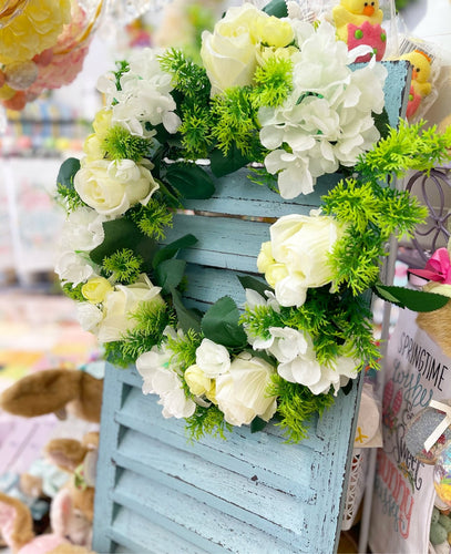 Green Floral Wreath with white Roses - Lemon And Lavender Toronto