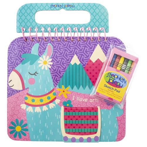 Llama - Shaped Sketch Pad with Crayons + Stickers - Lemon And Lavender Toronto