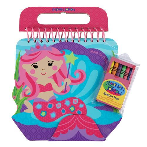 Mermaid - Shaped Sketch Pad with Crayons + Stickers - Lemon And Lavender Toronto