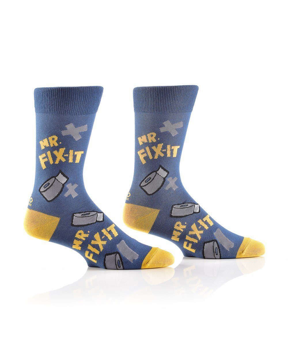 Mr Fix It Design, Men's Crew Sock - Lemon And Lavender Toronto