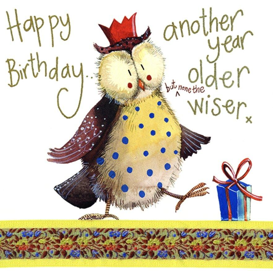 None the Wiser Owl Birthday Card - Lemon And Lavender Toronto