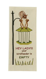 OUT OF BIRD SEED EMBROIDERED DISHTOWEL - Lemon And Lavender Toronto