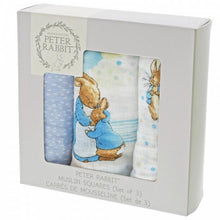 Load image into Gallery viewer, Peter Rabbit - Muslin Squares Set of 3 - Lemon And Lavender Toronto