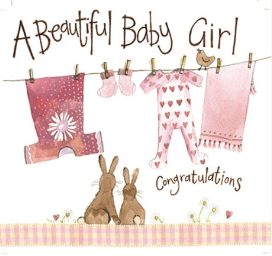 Pink Washing Line Baby Girl New Baby Card - Lemon And Lavender Toronto
