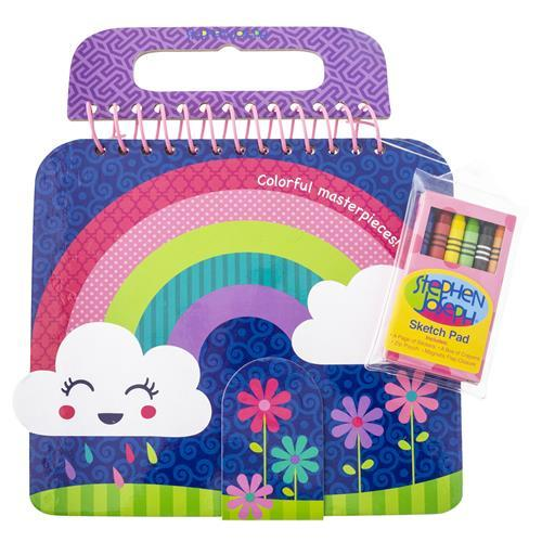Rainbow - Shaped Sketch Pad with Crayons + Stickers - Lemon And Lavender Toronto