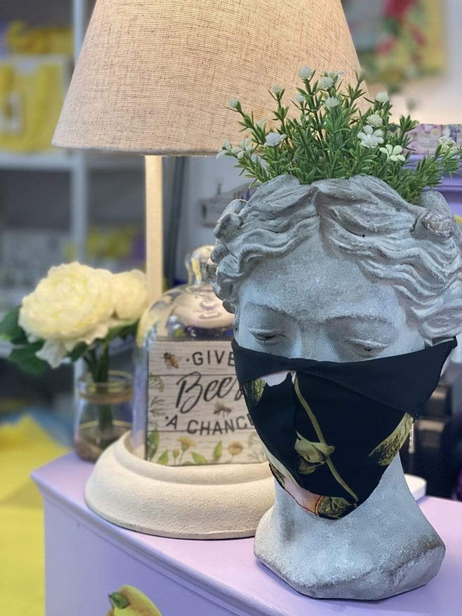 Shabby Pink and Black Floral fabric mask ( adult ) - Lemon And Lavender Toronto