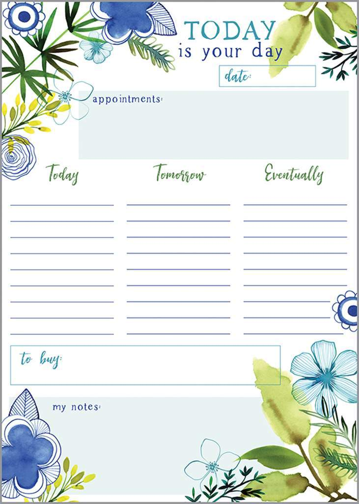 Today is your Day - Daily Planner Pad - Lemon And Lavender Toronto