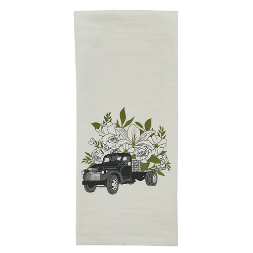 Vintage Flower Truck Tea Towel - Lemon And Lavender Toronto